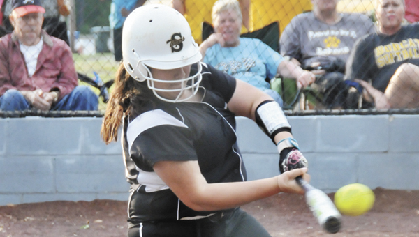 Straughn's Kristen Peavey hits a double in the first inning Tuesday night. | Andrew Garner/Star-News