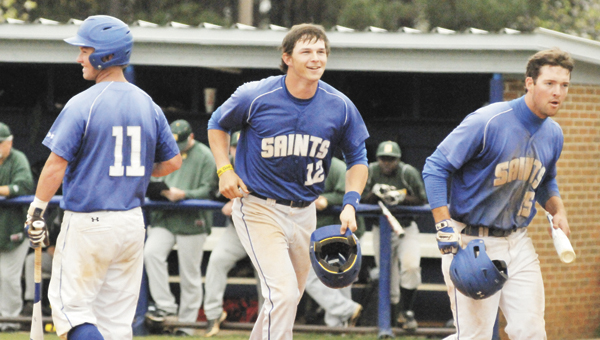 LBWCC's Eric Walding celebrates after hitting a two-run home run earlier this season.                         File photo