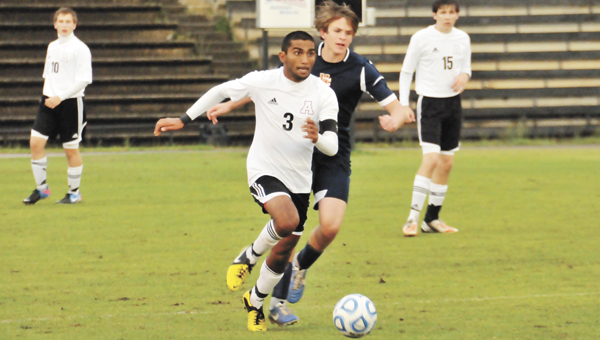 Andalusia's Hiren Patel (3) advances down the field during the first half Friday night. The Bulldogs fell 3-1 to Charles Henderson in their final area match of the season.                                                                                                                                           Andrew Garner/Star-News