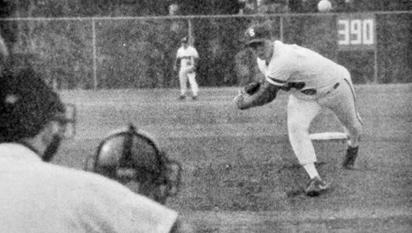 LBWCC's Brian McCranie, of the Saints' 1988 baseball team, throws a pitch during the season 25 years ago.   Fil photo
