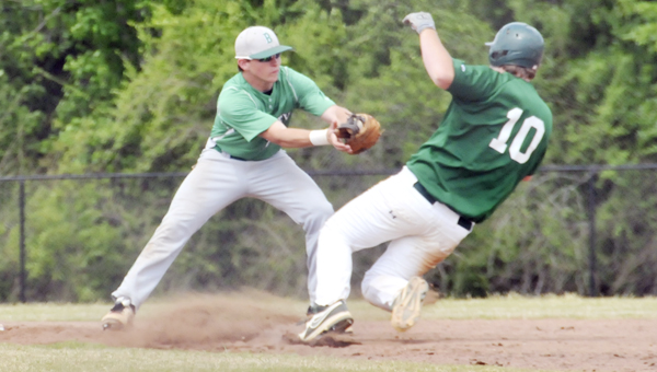 Brantley's Clay Haws tags Florala's Stephen Ratliff out at second base during the second round of the Class 1A state playoffs today. | Andrew Garners/Star-News