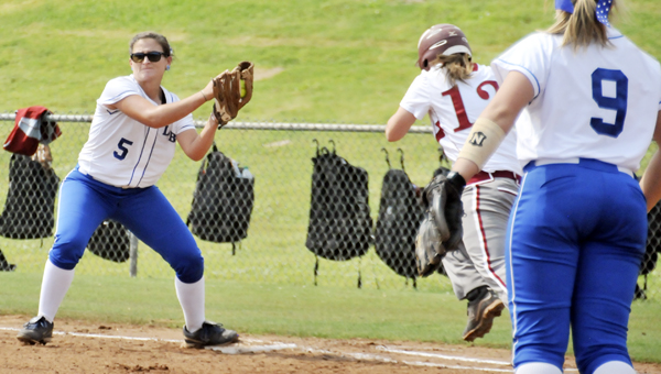 LBWCC's Tiffany Taylor receives a throw at first base during an earlier contest this season.   File photo