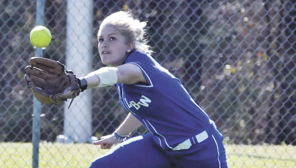 LBWCC's Crysta Paulson hit a solo home run in game two Friday to help propel the Lady Saints to a 2-0 win over Chattahoochee Valley. |            Andrew Garner/Star-Nwws