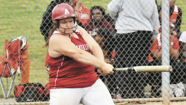 Andalusia's Abbie Young makes contact during an earlier game this season. | Andrew Garner/Star-News