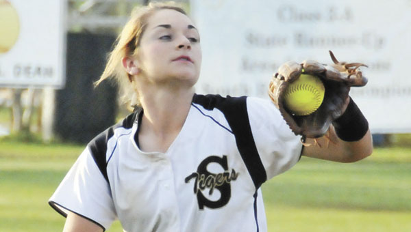 Straughn's Molly Stewart makes a play at shortstop during the Class 3A, Area 2 tournament. | File photo
