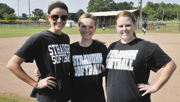 Straughn seniors (from left) Payton Mitchell, Laken Harris and Rachel Edson said they are excited about the opportunity to play at the state tournament this week.   Andrew Garner/Star-News