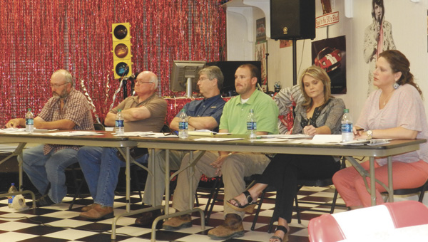Marty Treadaway, Jimmy Wilson, Chris Lawrence, Jason Jewell, Janna McGlamory and Marianne Dubose all questioned or spoke against a proposed sales tax Monday night.