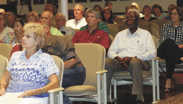 Tuesday night's council meeting drew a large crowd of people largely split on the issue of a new sales tax.