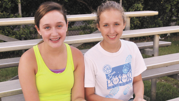Andalusia Stingrays swimmers Mary Beth Baker (left) and Cali Fillmer are looking forward to this summer's swim season. | Andrew Garner/Star-News