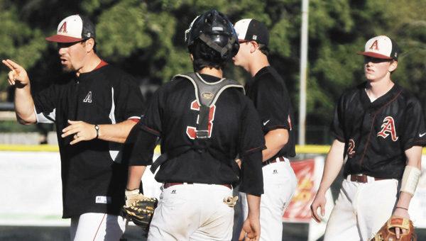 Andalusia head baseball coach Jonathan Rasberry (far left) resigned from his teaching and coaching duties Tuesday to take an assistant coaching job at Northview High School in Dothan. |                   AndrewGarner/Star-News