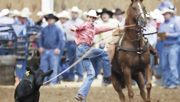 Andalusia rising junior Gus Maraman competes in an earlier rodeo event in the calf roping category. | Courtesy photo