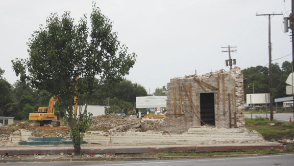 The former Covington Industries building in Florala, a multi-level structure, has been demolished.