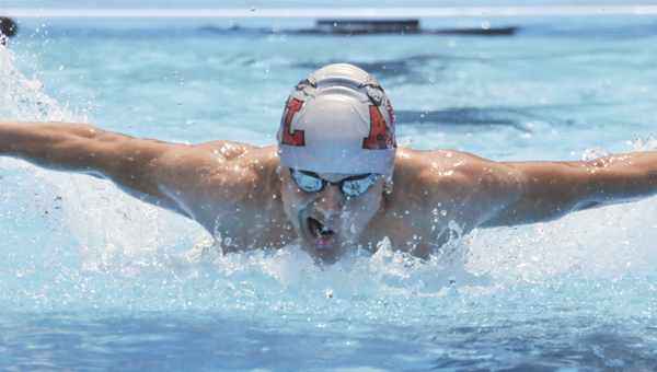 BJ Donaldson swims in the butterfly event. The Stingrays will be back in action on Friday at Troy. |                                                                          Andrew Garner/Star-News