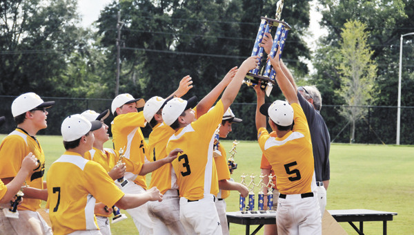 Opp's 11-to-12-year-old Cal Ripken baseball team rushes to grab its championship trophy Monday evening. | Andrew Garner/Star-News
