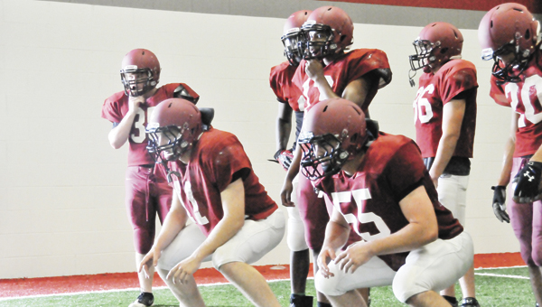 Andalusia football players participate in spring practice in May. | File photo