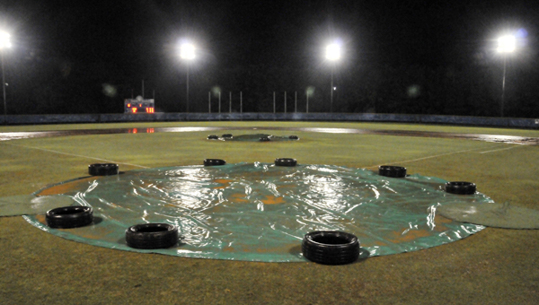 Babe Ruth tournament officials stopped play tonight at the 15-year-old Alabama Babe Ruth State Baseball Tournament at LBWCC because of rain. Play will resume tomorrow at 9 a.m. | Andrew Garner/Star-News