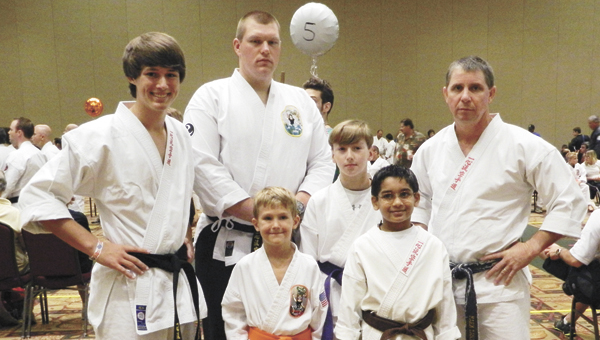 Andalusia Isshinryu karate students from Lto R: Allen Butler, Greg Faulkner, Landon Caldwell, Dalton Spears, Taj Patel and Mark Rudd (instructor). |         Courtesy photo