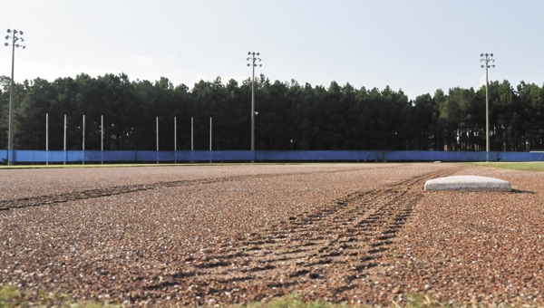 Tire tracks run along the third base pad on Crum Foshee Field at LBWCC's Andalusia campus. | Andrew Garner/Star-News