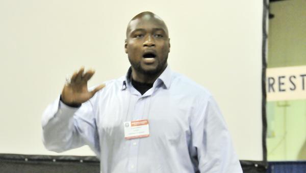 Former Auburn linebacker Eltoro Freeman gave the keynote address Wednesday. | Andrew Garner/Star-News