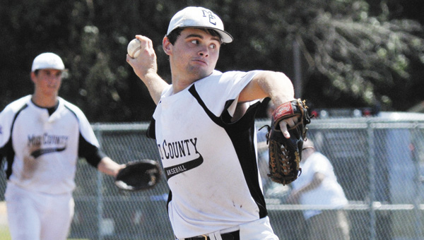 Mid County's Mitchell Sanderson threw a one-hitter in his team's 1-0 win over the Alabama Bombers. | Andrew Garner/Star-News