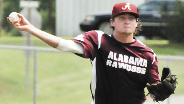 Alabama Rawdogs' Troy Andrews throws to first base for an out during his team's 5-3 victory over Onondaga, N.Y. at the 2013 Babe Ruth Baseball 16-18 World Series. |                                                                                             Andrew Garner/Star-News