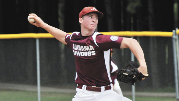 Alabama Rawdogs pitcher Keegan Curtis threw a two-hitter Thursday to help lead his team past Mid County, Texas 2-0, for the 2013 Babe Ruth Baseball 16-18 World Series title. | Andrew Garner/Star-News