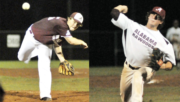 Peyton Jones (left) of the Alabama Bombers, and Garrett Waters of the Alabama Rawdogs threw great games for their teams Tuesday night.   Andrew Garner/Star-News