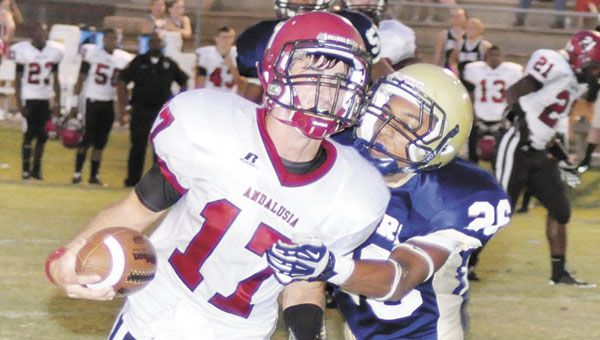 Andalusia's Michael McCalman rushed for 165 yards on 10 carries and a touchdown Friday night. | Josh Dewberry/The Monroe Journal