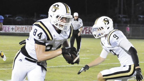 Straughn's Brady Page (84) runs during the Tigers' 21-8 victory over W.S. Neal Friday night. | Adam Robinson/The Brewton Standard