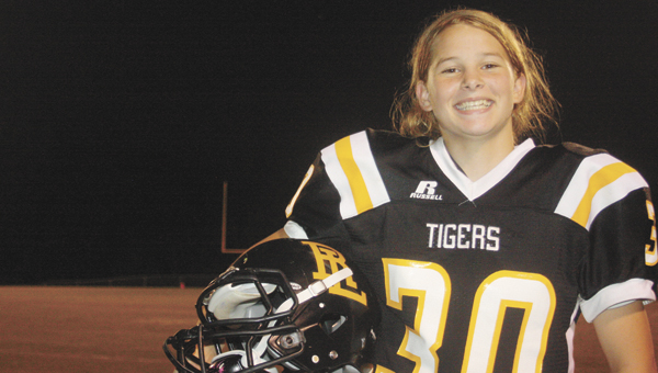 Red Level eighth grader Madason Dunsford loves playing football. She's a wide receiver and cornerback on the junior varsity squad. | Andrew Garner/Star-News