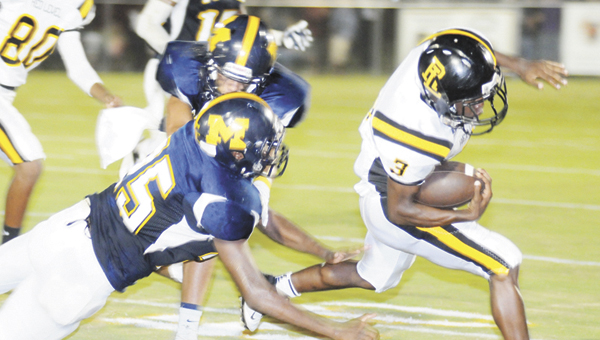 Red Level's Anthony McClain tries for a gain Friday night. |                                 Andy Brown/The Greenville Advocate