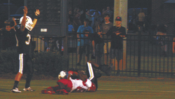 Straughn's Keith Edgar makes the touchdown call Friday night. | Zack Maio/For the Star-News