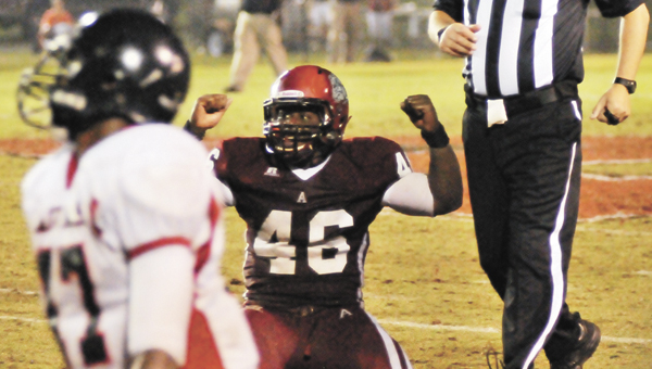 Andalusia's Montel Lee recorded 16 tackles in the Bulldogs' 29-21 victory over Hillcrest-Evergreen. |                                                                       Andrew Garner/Star-News