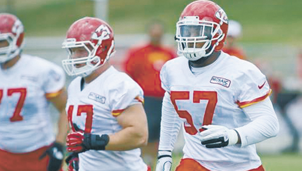 Kansas City linebacker Nico Johnson(57) made his NFL debut last week in the Chiefs' 31-7 victory over the Giants.                                Courtesy photo/Kansas City Chiefs