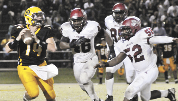 Andalusia's Montel Lee (46), O.T. Green (52) and Philip James (85) run down Opp's Ethan Davis during last week's win. AHS visits Clarke County tonight. |                                                                                                              Andrew Garner/Star-News