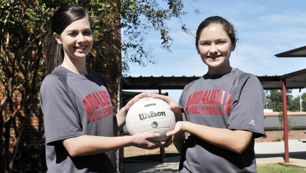 Andalusia freshmen Haley Harper (left) and Rachel Dayton have been playing volleyball since they were in middle school. Both have been setting for AHS. | Andrew Garner/Star-News