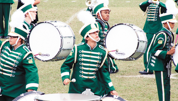 Members of the Florala marching band compete at LBH.