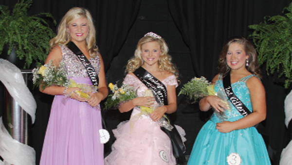Seventh grade beauties are: second alternate, MerrillAnn Culverhouse; sixth grade princess, photogenic, prettiest hair and prettiest dress, Abbey Jo Weatherford; and first alternate, Sara Kate Horn.