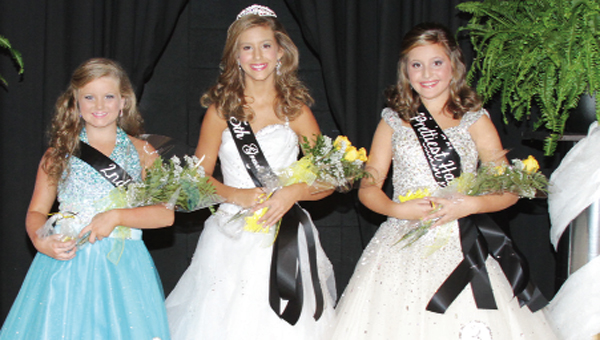 Fifth grade beauties are second alternate, Callie Cassady; fifth grade princess and photogenic, Enley Carnley; first alternate, prettiest hair and prettiest dress, Taylor Carnley.