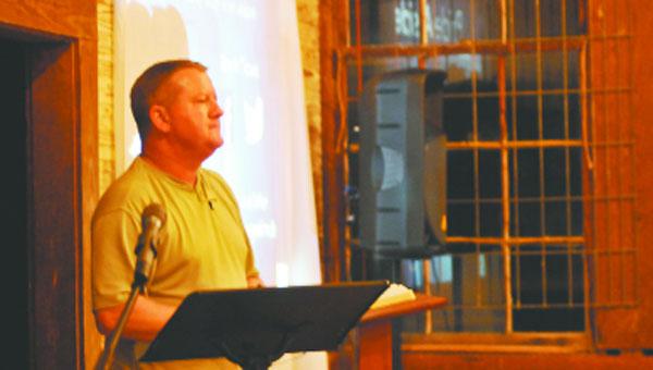 Steven Hutton speaks at the Old School Men's Meeting Thursday night.                         Andrew Garner/Star-News