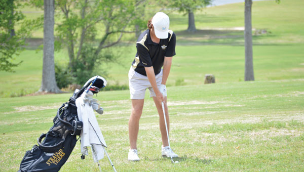 Brooks Rabren finished as the low medalist by four strokes for the day, and his performance earned him a spot to play in the state tournament next Monday and Tuesday at Magnolia Grove in Mobile. | Josh Dutton/Star-News