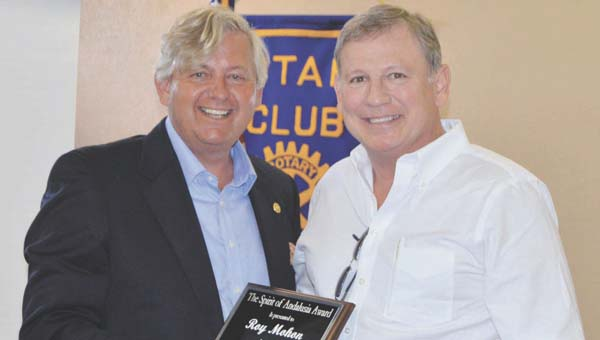 David Darby presents Roy Mohon with the Spirit of Andalusia award. | Michele Gerlach/Star-News