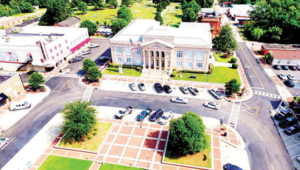 Shown is the Covington County courthouse on the square in Andalusia. This picture was taken by a quad drone, which carries a camera high in the air to take scenic shots of buildings and landmarks. | Courtesy of Gary & Henry Kinsey