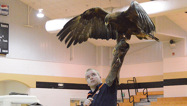 Andrew Hopkins is shown with a golden eagle.