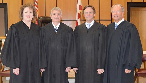 District Judge Julie Moody, Bowden, Presiding Circuit Judge Lex Short, and former District Judge Trippy McGuire.