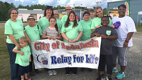 City of Andalusia Team members include Chuck and Shelia Faulkner, Pearl Williamson, Tanya and Sarah Williams, Brenda Williamson, Tiffany and Myla Stallworth, Deborah and Jaden Spivey, and Stephanie Moceri.