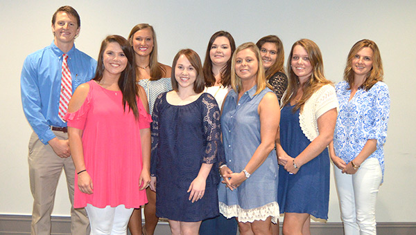Scholarship recipients include (front row, from left) Megan Truex, Evan Frye, Shelly Sasser, Brandy Lee Simpler, Lisa Colvin, (back row) Will Jackson, Cassie Cooper, Ashley Gunter, and Evyn Patterson. Not shown is Victoria Rabren.