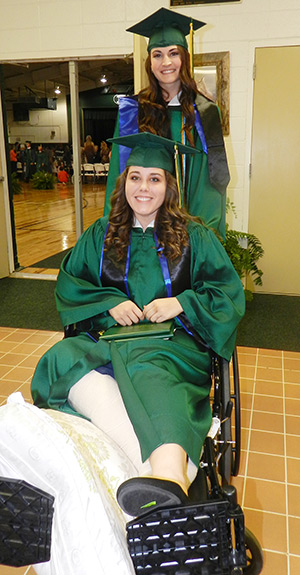 Callie Wise suffered a broken ankle and leg on April 28 while playing softball. The accident left her wheelchair bound until July.