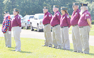 The AmVets honor guard at a Monday morning ceremony