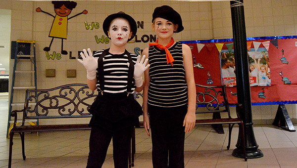 Caroline Petty and Maecy Starnes took the silent approach and dressed as Mimes from Italy.